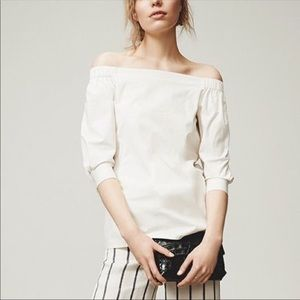 Theory Joscla Icon Shirting Off the Shoulder Top S